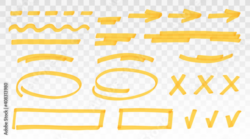 Vászonkép Yellow highlighter set - lines, arrows, crosses, check, oval, rectangle isolated on transparent background