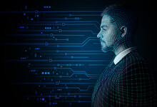 Portrait Of Young Man On Dark Background. Concept Of Computer Science