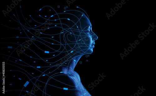 Portrait of young woman on dark background. Concept of computer science