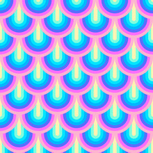 Unicorn Rainbow Stripes Pattern. Neon Pastel Rainbow Illustration. Seamless Vector Background. Mermaid Scales Pattern