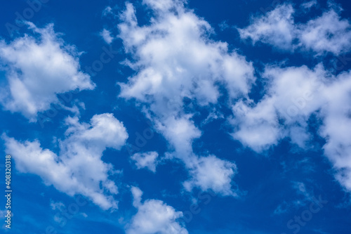 Fotografering blue sky with white beautiful clouds