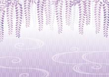 紫の藤の花の和柄背景