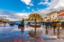 Street View In Foca Town. Foca Is Populer Tourist Destination In Turkey.