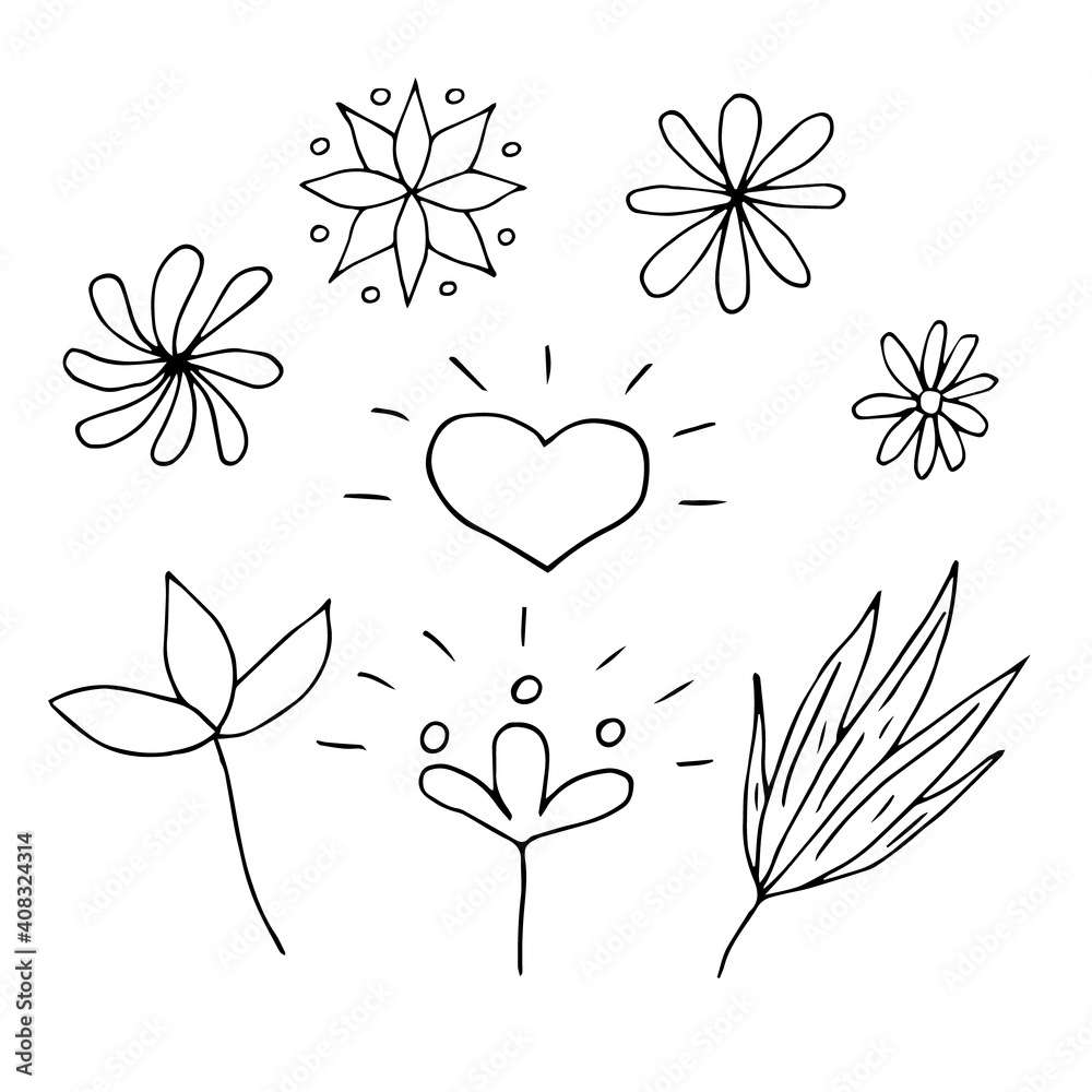 Set of heart and flowers and leaves, vector doodle illustration
