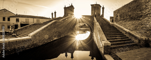 famous trepponti bridge in Comacchio - italy