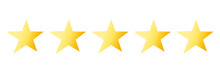 Quality Rating Bright Icon With Five Yellow Stars Isolated On White. Evaluation Of Goods, Writing Reviews Of Delivery, Hotels, Shops. Vector Illustration. Flat.