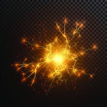 Lightning Flash Light Thunder Sparks On A Transparent Background. Fire And Ice Fractal Lightning, Plasma Power Background Vector Illustration