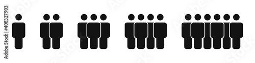 Crowd icons set isolated on white background. Collection and group of people concept. Team or common cause. Vector illustration
