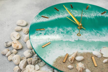 Wall Clock Handmade Of Epoxy Resin Art