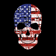 Skull With Flags, Grunge Vintage Design T Shirts