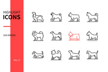 Dog Breeds - Modern Line Design Style Icons Set