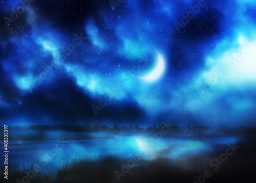 Canvas-taulu Crescent moon above river