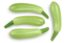 Zucchini Or Marrow Isolated On White Background With Clipping Path And Full Depth Of Field. Top View. Flat Lay