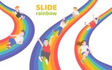 Rainbow Slide With Happy Children Sliding Down Together