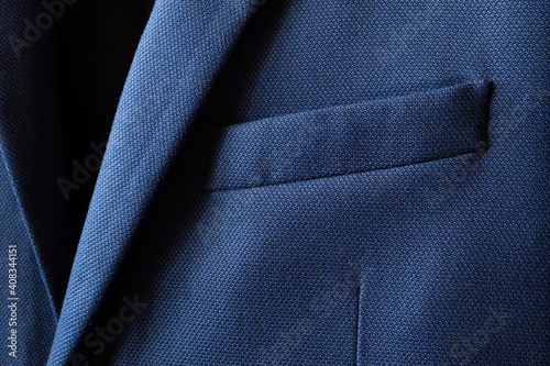 Fotografie, Obraz High resolution with details and quality shot of formal dark blue wool suit fabric texture