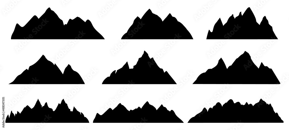Fototapeta Mountain silhouette. Rocky range landscape shape. Hiking mountains peaks, hills and cliffs. Climbing stone mount abstract contour vector set. Illustration mountain silhouette shape, rocky cliff