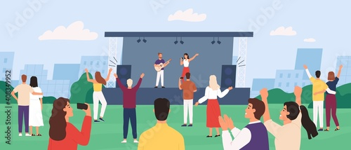 Open air concert. People enjoying outdoor performance with musician band on stage. Crowd listen and dance. Music show in park vector concept. Illustration festival concert, music performance outdoor © Tartila