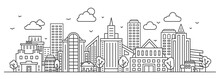 Line City Landscape. Urban Panorama With Skyscraper, Buildings And Trees. Outline Town Street And Sky. Thin Linear Cityscape Vector Concept. Illustration City Building Line, Outline Cityscape