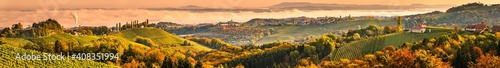 Winery in south Styri, Austria. Panoramic view at hills of wine road. Famous Tuscany like destination.