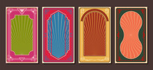Art Nouveau And Art Deco Frames, Retro Backgrounds, Poster, Cover Template Set, Psychedelic Color Combinations