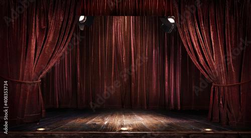 Magic theater stage red curtains Show Spotlight.