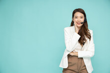 Portrait Of Happy Smiling Asian Woman Customer Support Phone Operator Isolated On Green Background, Call Center Or Customer Service Concept