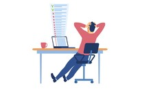 Deadline Missing And Bad Time Management Concept. Tired, Stressed Man Grabbing His Head Looking At Computer Monitor With To Do List On Screen. Flat Vector Illustration Isolated On White Background