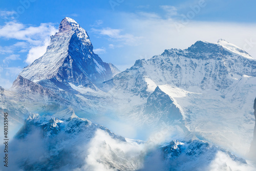 Fototapeta Matterhorn and snow mountains panorama view at Gornergrat, Switzerland