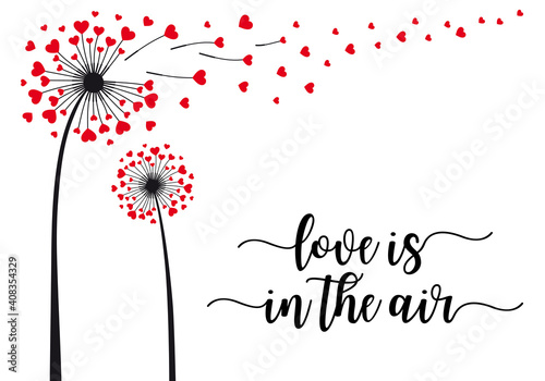Dandelion with flying hearts, vector card