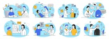 Large Set Of Outline Vector Illustrations Depicting People At The Appointments Of Doctors Of Different Specialties. Bundle Of Flat Cartoon Minimal Style Vector Illustrations