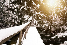 Wooden Improvised Bridge Over A Small Stream In The Forest. Beautiful Winter Landscape With Fresh Snow And The Sun Shining