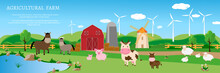 Banner Design Farm Animals On The Farm Against The Background Of The Landscape And Wind Turbines. Vector Illustration Cow, Horse, Pig, Sheep, Mill. Place For Text