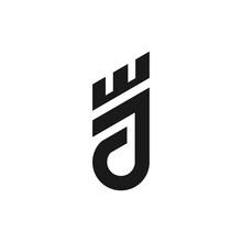 Monogram Letter J King Logo. Letter J King Vector