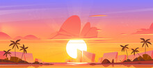Sunrise Sky In Ocean On Tropical Island, Orange Pink Heaven With Sun Going Up The Sea With Palm Trees And Rocks Around. Beautiful Nature Landscape, Shining Sol Above Water. Cartoon Vector Background