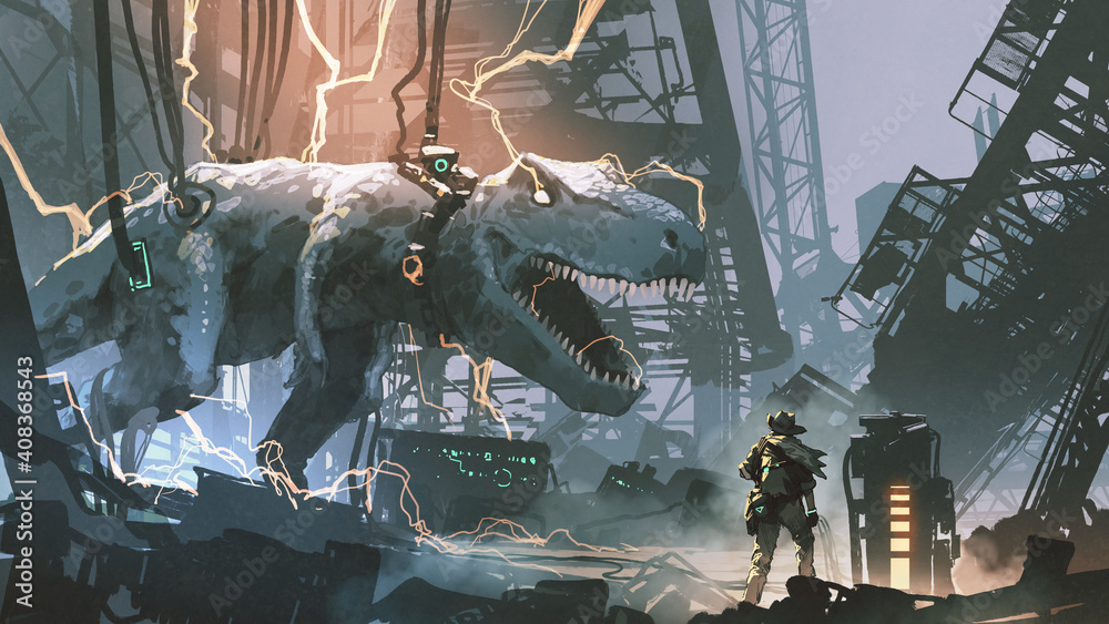 Fototapeta a hunter looked at the captured T-rex in an abandoned lab, digital art style, illustration painting