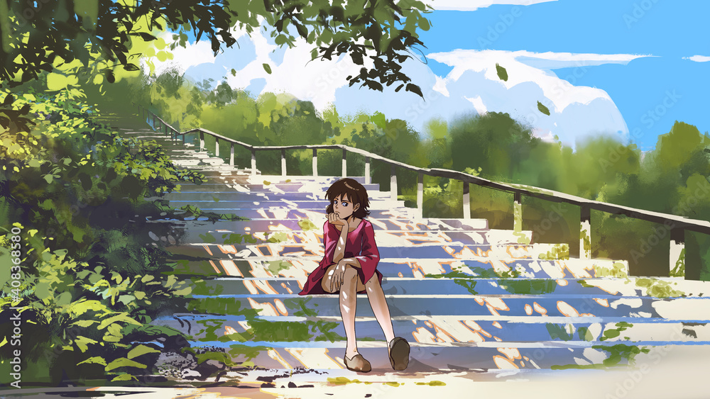 Fototapeta young woman in red sitting on the stairs in the park, digital art style, illustration painting