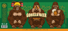 Beer Label Design With Three Wise Gorillas With Beer. Vector Illustration.