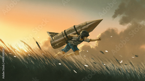 boy with a big rocket mounted on his back running in the filed at sunset, digital art style, illustration painting