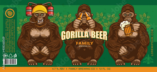Canvas Print Beer Label Design With Three Wise Gorillas With Beer