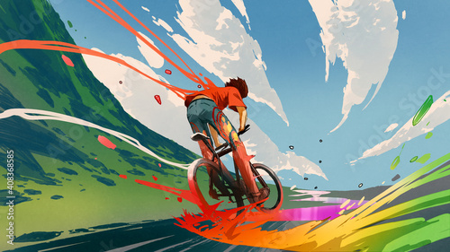 Fotografija young man riding a bicycle with a colorful energy, digital art style, illustrati
