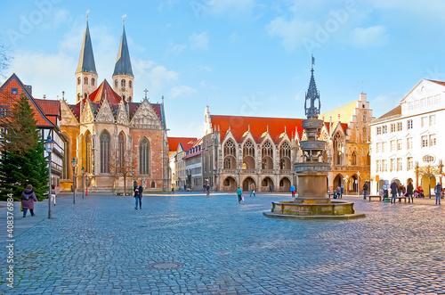 The Old Town Market Square (Altstadtmarkt) of Braunschweig, Germany Fototapeta