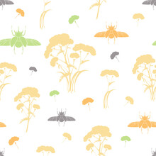 Seamless Pattern With Plants And Bugs Silhouettes. Botanical Ornament With Medicinal Plants And Insects On White And Transparent Backgrounds.