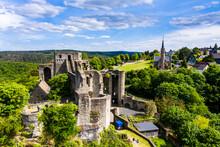 Drone Shot Of Travelers At Burg Hohenstein, Bad Schwalbach, Rheingau-Taunus-Kreis, Hesse On Sunny Day, Germany