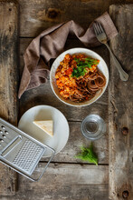 Bowl Of Vegetarian Spaghetti Bolognese With Carrots And Buckwheat