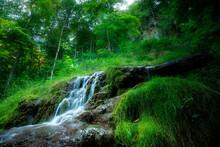 Beautiful Waterfall In Green Forest, Swabian Alb, Germany