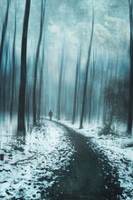 Man Walking On Forest Path In Snow