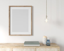 Frame Mockup Interior With A Poster, Wooden Chest Of Drawers …