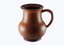 Clay Jug For Milk On A Light Background
