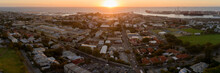 Panoramic Sunset Over Fremantle City And Port.