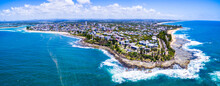 Aerial View Of Point Wickham, Shelly Beach, And Kings Beach At Caloundra On The Sunshine Coast